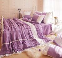 Cheap 100% cotton 4-6 feet bed 3pcs Children 4pcs Princess Adult purple bedspread lace bedding set Twin Full Queen King size B3003