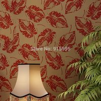 Wholesale Euroart Luxury High grade Velvet Non woven Wallpaper Leaves Bedroom TV Setting Wall paper Mural Flocking Wallpaper Home Decor