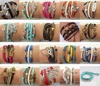 Wholesale HOT Sale Styles Mix Bracelets Multi Layer Braided Leather Handmade Combination Pattern Colorful Charm Bracelets