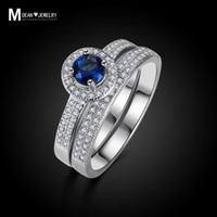 ring wedding - Hot selling sterling silver ring set setsapphire jewelry vintage bijoux fashion bague engagement ring wedding gift for woman MSR007