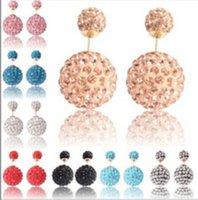 Wholesale disco shining mm mm Double Sided Earrings Dual Size Reversible Shamballa Beads Ear Stud Large Stocks Crystal Earrings Pair