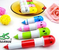 promotional pens - Cute Retractable ball pen Smiling Face Pill Ball Point Pen Pencils Telescopic Vitamin Capsule Ballpen for School Use Promotional gift