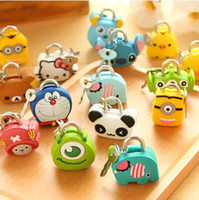 Wholesale New Arrival Models Cute Animal Creative fashion cute padlock Cartoon silicone metal mini lock DHL