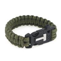 Wholesale Outdoor Survival Bracelet Paracord Flint Fire Starter Scraper Whistle Gear Kits