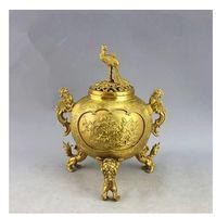 Wholesale Three Lions top copper switch phoenix incense censer three legged bronze incense burner home crafts ornaments