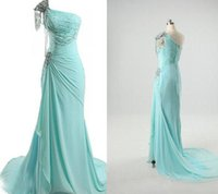 Cheap 2015 Real Image Prom Party Dress Baeding One-shoulder Aqua Chiffon Sheath Crystals Pleats Court Train Vestidos De Baile Long Homecoming Gown