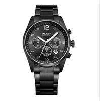 watch led - Megir Brand Quality Men Watch Stainless Steel Business Watch Led Water Proof Calendar Multi Function small dials with function