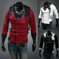 Wholesale Sweater Zippers Sleeves - Plus Size M-6XL NEW HOT Men's Slim Personalized hat Design Hoodies & Sweatshirts Jacket Sweater Assassins creed Coat