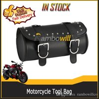 motorcycle saddle bags - PU Motorcycle Strap Tool Bag Black Motorbike Classic Barrel Shape Scooter Saddle Pauch