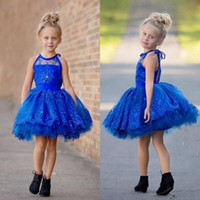 Reference Images girls knee length pageant dresses - 2016 Royal Blue Sheer Jewel Neck Girls Pageant Dresses Lace Appliques Beaded Tiered Knee Length Flower Girl Party Gowns BA1421