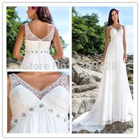 Reference Images online store - china online store A Line Floor Length Court Train Crystal Beads Flowers V Neck Sleeveless Empire Summer Beach Wedding Dresses