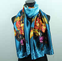 Wholesale 1pcs Gold Pink Rose Teal Women s Fashion Satin Oil Painting Long Wrap Shawl Beach Silk Scarf X50cm