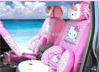 pink car seat covers - 29pcs set Cartoon Hello Kitty pink Car Seat Cover set for Universal seat car Hatchback vehicle Protector Car styling Gift
