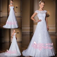 Wholesale Modest A Line Wedding Dresses with Cap Sleeves Vestidos Square Neck Backless Brush Train Sexy Two Pieces Lace Garden Bridal Gowns LT100