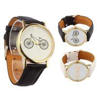 bicycle belt buckle - 2015 hot New Unisex Quartz watch men women Analog wristwatches Bicycle Patter Sport Watches Leather watches Analog WristWatch Black white