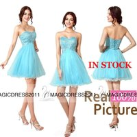 Wholesale Custom made Lovely Prom Party Dresses Backless A Line Sweetheart Beaded Short Mini Cocktail Formal Gowns Cheap for sale IN STOCK