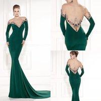 Cheap Tarik Ediz 2015 Green Mermaid Evening Dress Sexy Sheer Neck and Back Long Sleeve Beads Sequins Court Train Velvet Party Celebrity Dress