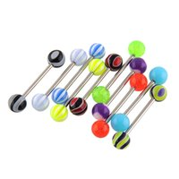 aqua barbells - New Fashion Magic Tongue Bars Barbell Piercing Colorful Body Jewelley Stainless Steel