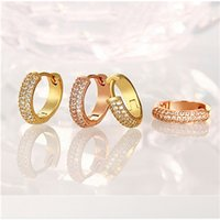 Wholesale fashion K gold plated hoop earrings with zircon top quality luxury romantic wedding gift