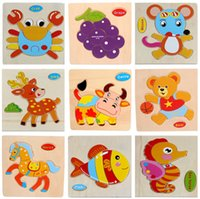 Wholesale 2015 Hot Sale Wooden Animal Puzzle Educational Toys Developmental Baby Toy Kids Training A3