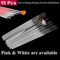 Wholesale 15pcs Acrylic Nail Art Design Painting Tool Pen Polish Brush Set Kit DIY Pro Nail Art Brush Dotting Pen white and pink color are available