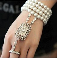 asian prom dresses - 2014 prom Party dresses the bride pearl jewelry bracelet with diamond ring chain Wedding Bracelets