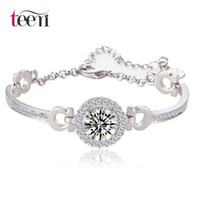 bar stones - Teemi Jewelry New Charm Bracelets Bangles Hearts Arrows Perfect Cut Karat Cubic Zirconia Round CZ Stone White Gold Plated