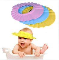 Wholesale 2pcs kid s bath shower cap adjustable baby Shampoo bath shower cap wash hair shield hat fast freeshipping order lt no track