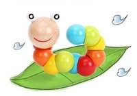Wholesale Variety shilly colored wooden caterpillar insect RB05 baby educational toys exercise the fingers flexible