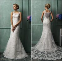 Cheap Amelia Sposa 2016 Lace Wedding Dresses Vintage Bateau Neck Lace Appliqued Sheer Back Tulle Court Train Church Bridal Gowns