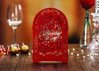 Wholesale 2016 NEW elegant wedding invitations cards red unique invitations wedding invitations laser cut fiche free of charge Text printing CW5125