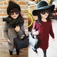 Wholesale Fashion Girls Sweater Dress Autumn Winter Children s Clothing Pockets Long Tops Pullovers Slit Knitted Sweaters Kids Knitwear Wine red