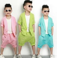 children tank tops - Boys Suits Clothes Korean Kids Casual Sets For Big Children Pink Green Blue Linen Short Sleeve Blazer Tank Tops Pant I4380
