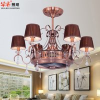 ceiling fan remote control - Retro Traditional American Style Contracted Ceiling Fans Fashion Crystal Chandeliers E27 LED Lights Brief Dining Room Restaurant Living Room