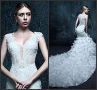 Cheap 2016 Custom Made Mermaid Wedding Dresses Sleeveless Bride Gowns Corset Bodice Girl Wedding Party Gowns Bridal Dress V-neck See Through SHJ