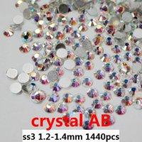 crystal rhinestone hotfix - rhinestones for nails1440pcs ss3 mm Crystal AB flat back non hotfix glue on rhinestones