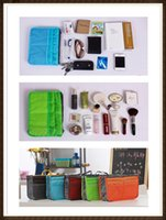 Wholesale 2015 Women Travel Insert Handbag Makeup Bag Purse Cosmetic MP3 Mp4 Phone Storage Organizer Sundry Bags Cosmetics Bags Multi Two Zipper Bag