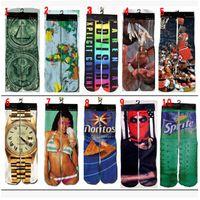 thermal socks - 100pcs CCA2603 Styles D Thermal Printed Brand Unisex Basketball Socks Sports Hip Hop Skateboard Chaussette Stockings Odd Sox Socks