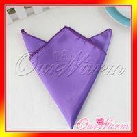 Wholesale Purple Violet Satin Table Napkin quot Square Men Pocket Handkerchief Multi Purpose Wedding Banquet Colors