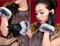 Wholesale Fashion faux rabbit fur pu leather gloves women girl winter warm plush lining five fingers gloves mittens outwear colors xmas gift EMS