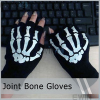 Wholesale x Black Cycling Fingerless Skull Gloves Dirt Bike Bicycle Motocross Off Road Computer For Men Women