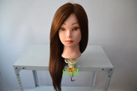Wholesale Mannequin Head Professional Hair Styling Training Head Light Brown Human Hair Dummy