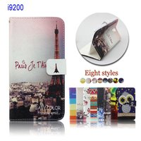 Cheap Eiffel Tower wallet case slot flip leather Case cover for samsung galaxy mega 6.3 i9200 for nokia n920 50pcs DHL Free Shipping