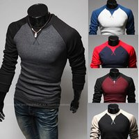 Wholesale Fashion Designs Men Shirt Mens Long Sleeve T Shirt raglan sleeved shirts Round Neck Mens Apparel Clothing man NY embroidery clothes