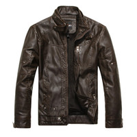Wholesale Fall Mens Jackets And Coats Leather Motorcycle Jacket Men Russian Winter Coat Male Faux Leather Coat Black Brown Khaki