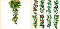 Wholesale Artificial Silk Rose Flower Ivy Vine Hanging Garland Wedding Home Decor