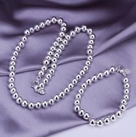 Wholesale Factory Direct Fashion plated jewelry silver jewelry sets for women beads chain necklace bracelet top quality stamped