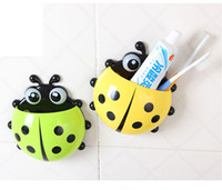 Wholesale Hot Sale colors Cute Ladybug Cartoon Sucker Toothbrush Holder suction hooks Household Items toothbrush rack bathroom set