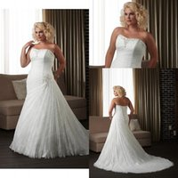 vogue wedding dress - Vogue Design Lace Beads Plus Size Wedding Dresses Sweetheart Mermaid Backless Chapel Train Bridal Gown