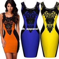 Wholesale ORANGE BLUE YELLOW New Black Embroidery Bodycon OL Elegant Pencil Dress Women Contrast Color Casual Summer Dress